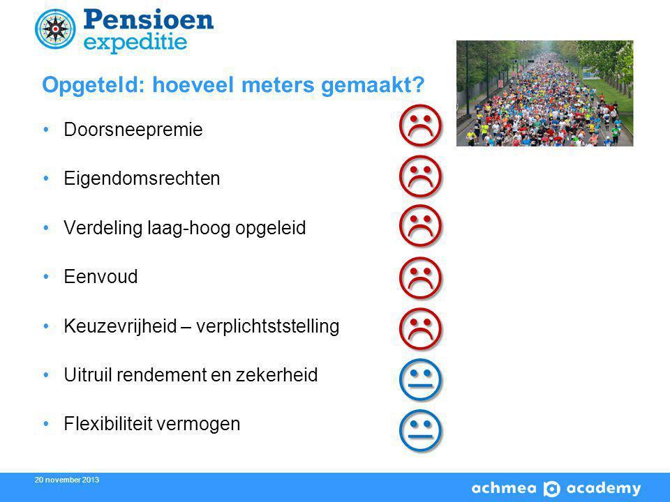 20 november 2013 Opgeteld: hoeveel meters gemaakt.