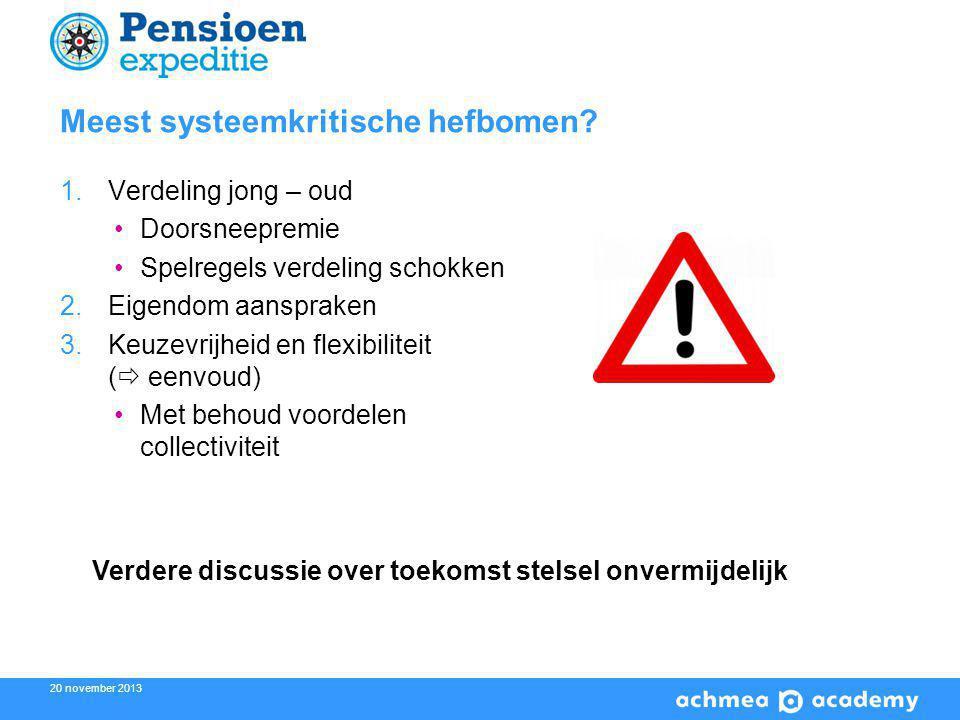 20 november 2013 Meest systeemkritische hefbomen.
