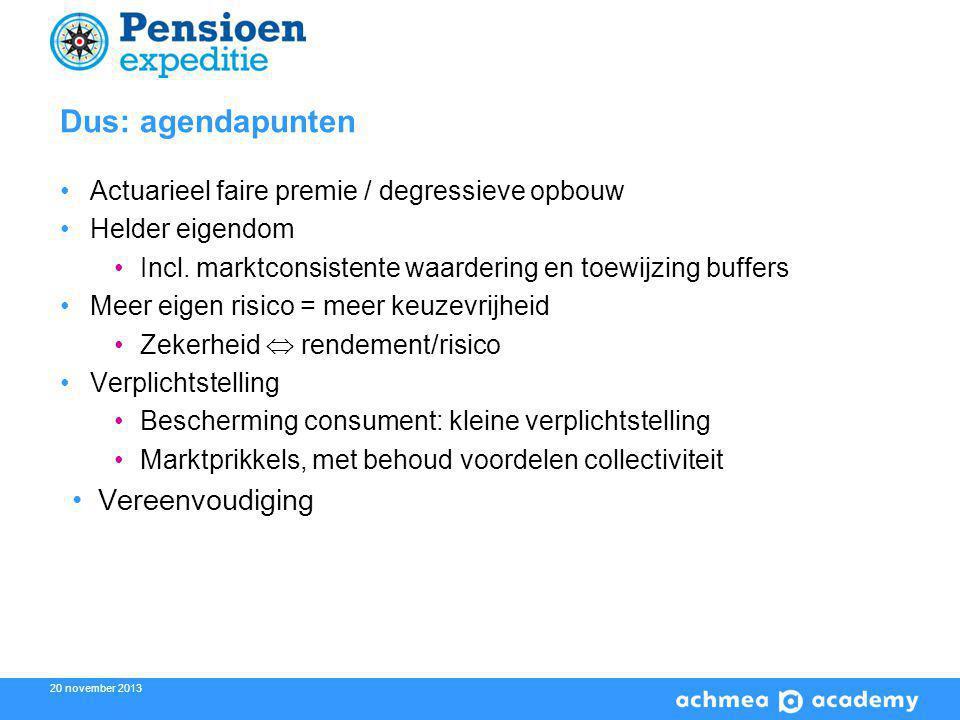 20 november 2013 Dus: agendapunten Actuarieel faire premie / degressieve opbouw Helder eigendom Incl.