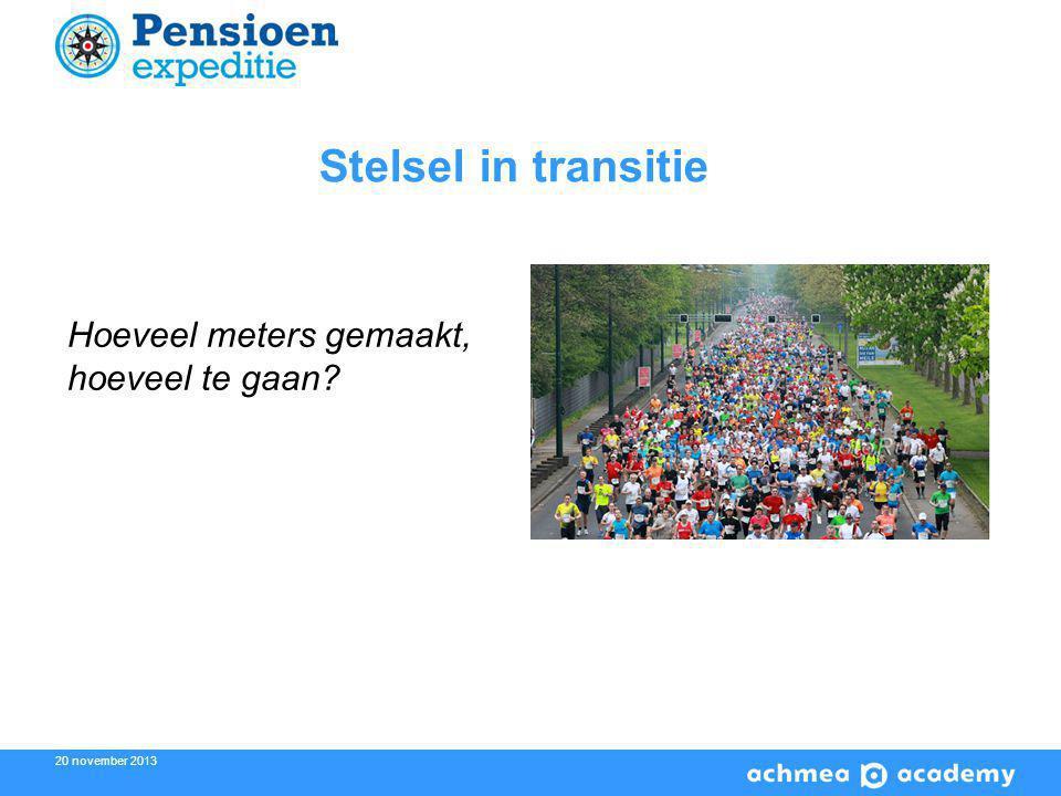 20 november 2013 2 Stelsel in transitie Hoeveel meters gemaakt, hoeveel te gaan?