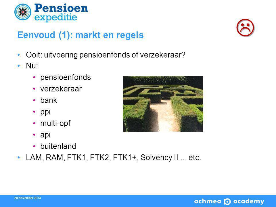 20 november 2013 Eenvoud (1): markt en regels Ooit: uitvoering pensioenfonds of verzekeraar.