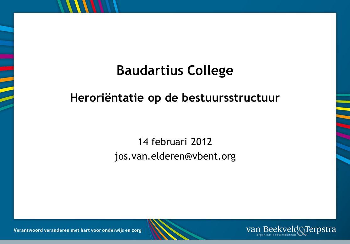 Baudartius College Heroriëntatie op de bestuursstructuur 14 februari 2012 jos.van.elderen@vbent.org