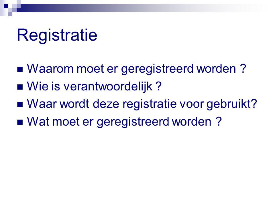 Registratie Waarom moet er geregistreerd worden .Wie is verantwoordelijk .