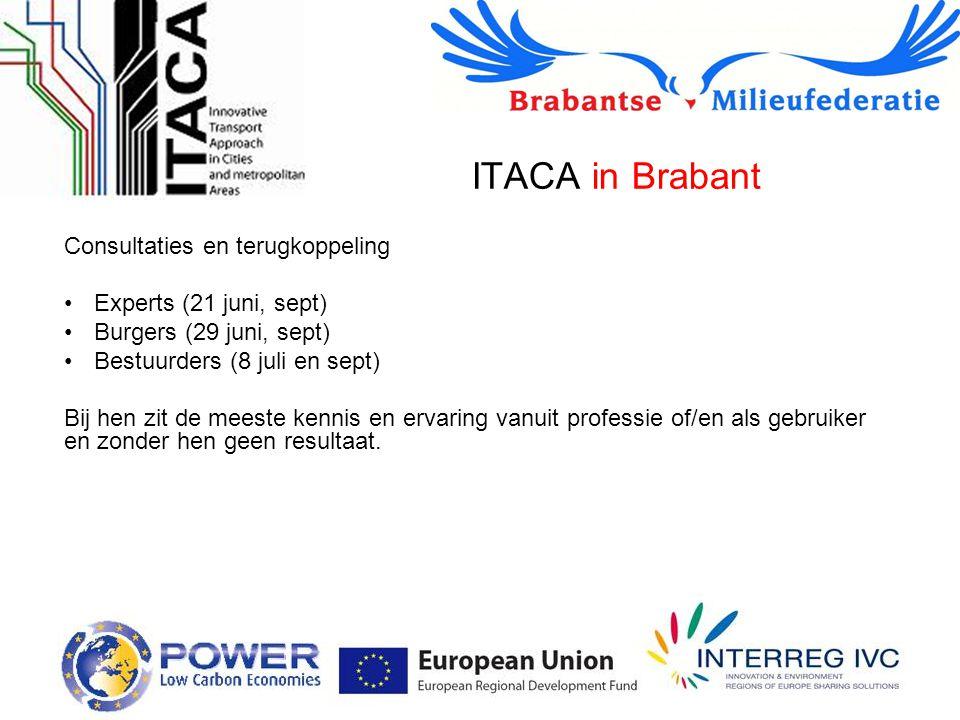 ITACA in Brabant Consultaties en terugkoppeling Experts (21 juni, sept) Burgers (29 juni, sept) Bestuurders (8 juli en sept) Bij hen zit de meeste kennis en ervaring vanuit professie of/en als gebruiker en zonder hen geen resultaat.