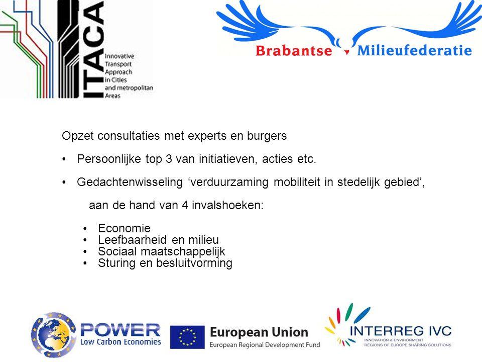 Opzet consultaties met experts en burgers Persoonlijke top 3 van initiatieven, acties etc.