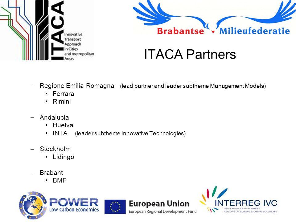 ITACA Partners –Regione Emilia-Romagna (lead partner and leader subtheme Management Models) Ferrara Rimini –Andalucia Huelva INTA (leader subtheme Innovative Technologies) –Stockholm Lidingö –Brabant BMF