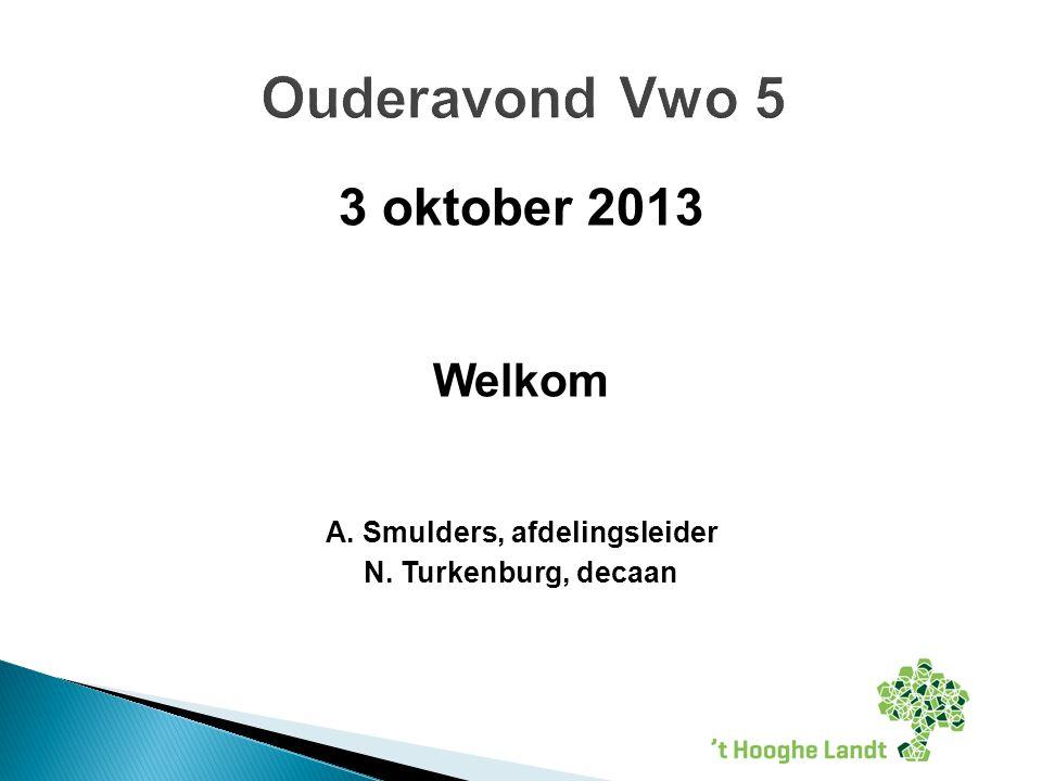 3 oktober 2013 Welkom A. Smulders, afdelingsleider N. Turkenburg, decaan