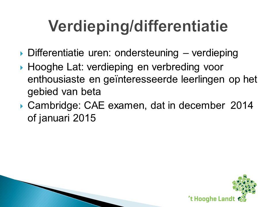  Differentiatie uren: ondersteuning – verdieping  Hooghe Lat: verdieping en verbreding voor enthousiaste en geïnteresseerde leerlingen op het gebied van beta  Cambridge: CAE examen, dat in december 2014 of januari 2015