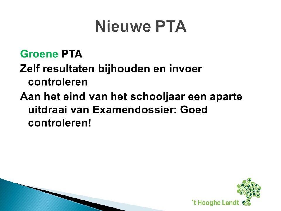 Groene PTA Zelf resultaten bijhouden en invoer controleren Aan het eind van het schooljaar een aparte uitdraai van Examendossier: Goed controleren.
