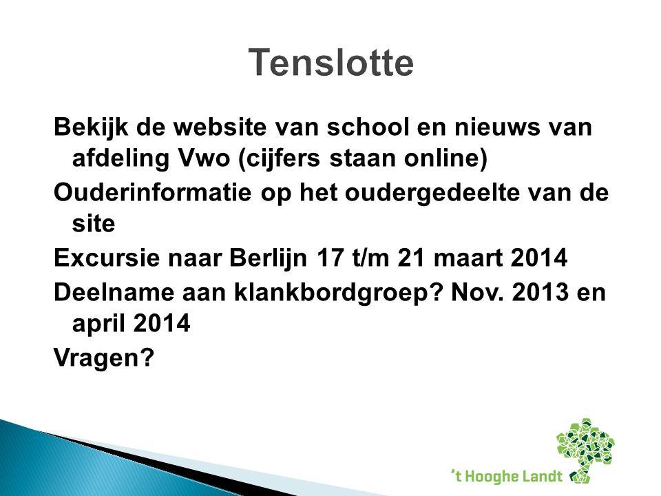Bekijk de website van school en nieuws van afdeling Vwo (cijfers staan online) Ouderinformatie op het oudergedeelte van de site Excursie naar Berlijn 17 t/m 21 maart 2014 Deelname aan klankbordgroep.