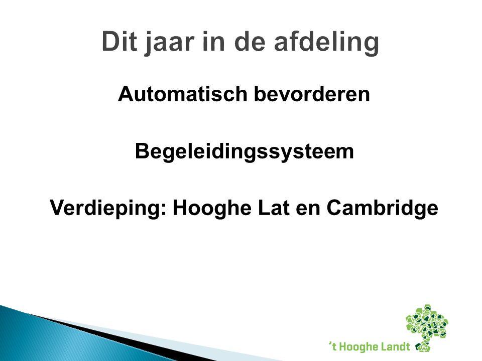 Automatisch bevorderen Begeleidingssysteem Verdieping: Hooghe Lat en Cambridge