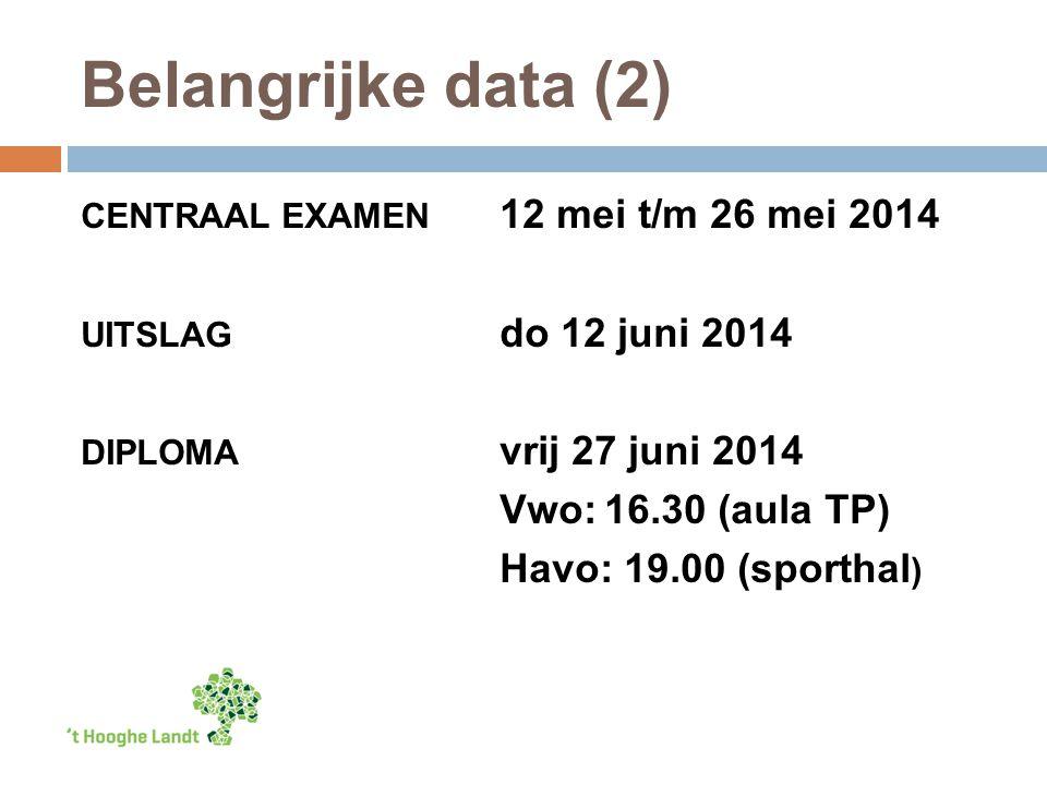 Belangrijke data (2) CENTRAAL EXAMEN 12 mei t/m 26 mei 2014 UITSLAG do 12 juni 2014 DIPLOMA vrij 27 juni 2014 Vwo:16.30 (aula TP) Havo: 19.00 (sporthal )