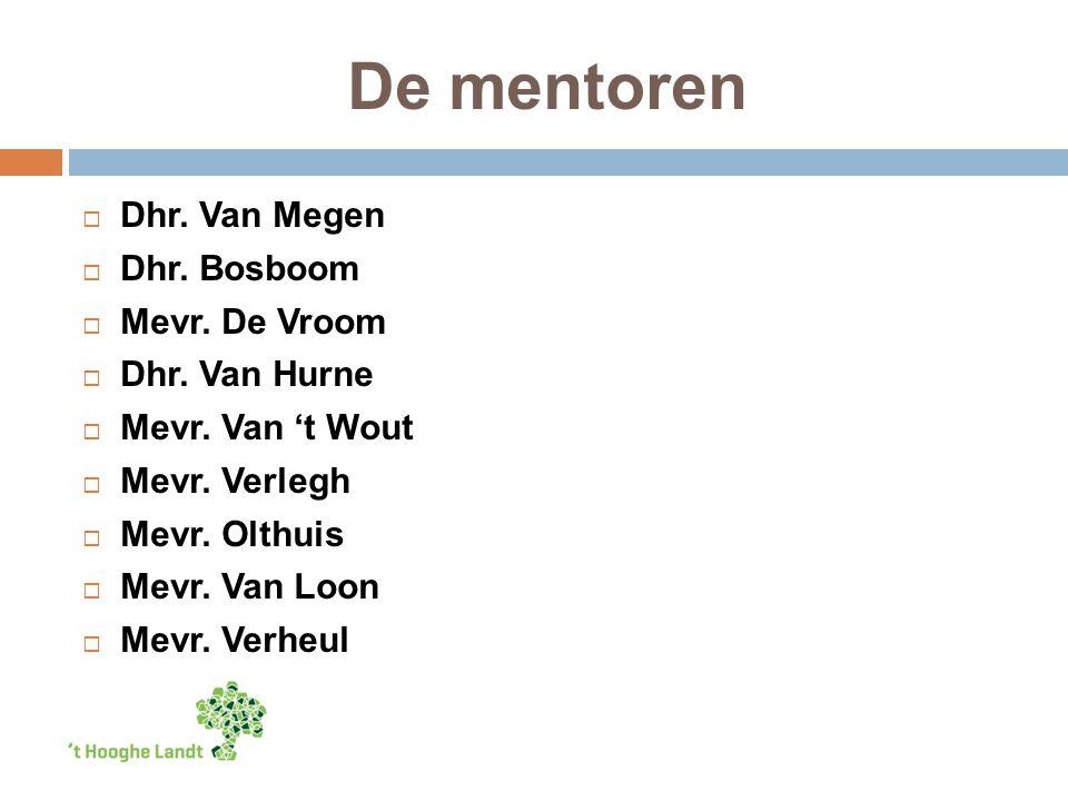 De mentoren  Dhr. Van Megen  Dhr. Bosboom  Mevr.