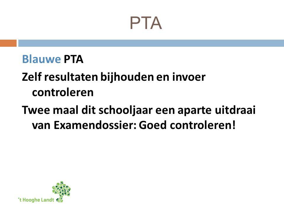 PTA Blauwe PTA Zelf resultaten bijhouden en invoer controleren Twee maal dit schooljaar een aparte uitdraai van Examendossier: Goed controleren!