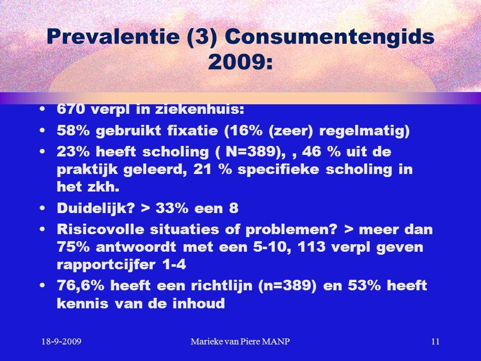 Prevalentie (3) Consumentengids 2009: 670 verpl in ziekenhuis: 58% gebruikt fixatie (16% (zeer) regelmatig) 23% heeft scholing ( N=389),, 46 % uit de