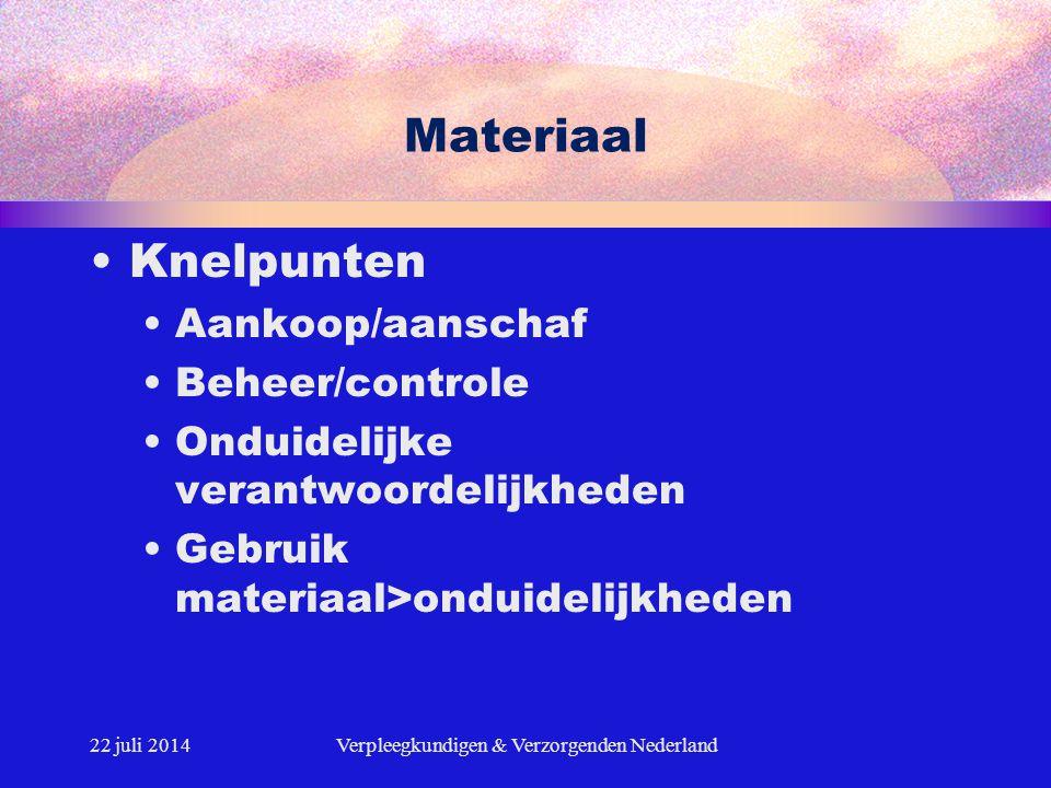22 juli 2014Verpleegkundigen & Verzorgenden Nederland Materiaal Knelpunten Aankoop/aanschaf Beheer/controle Onduidelijke verantwoordelijkheden Gebruik