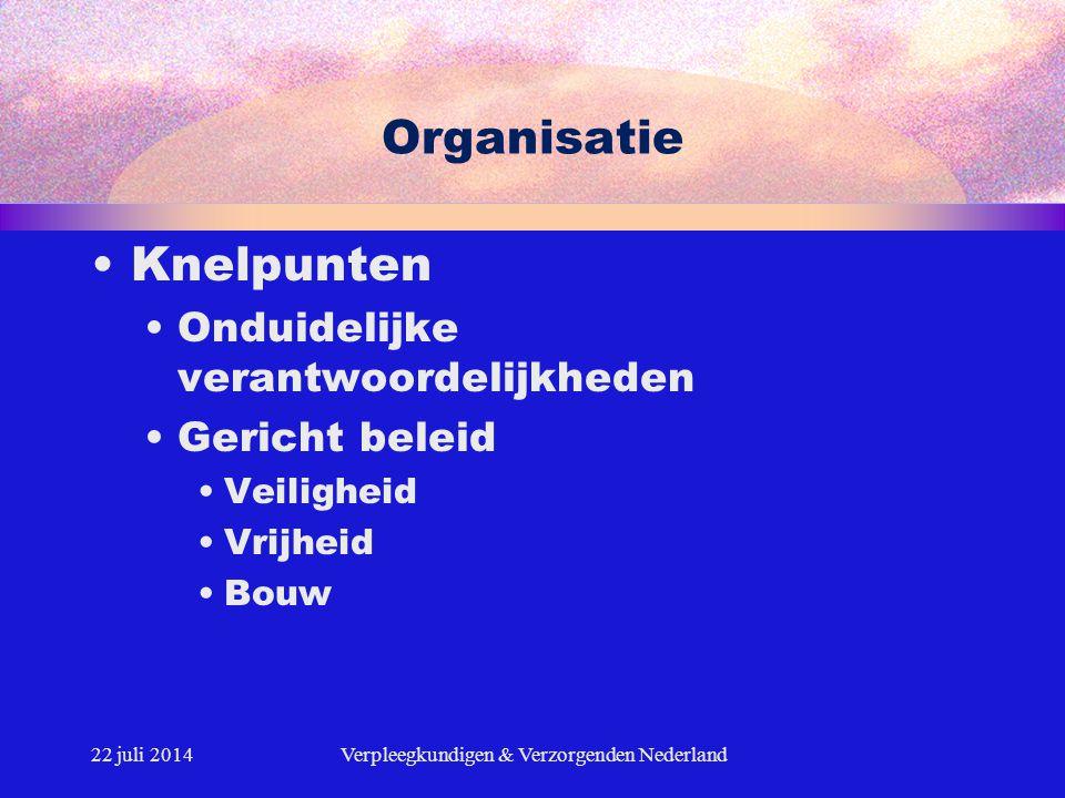 22 juli 2014Verpleegkundigen & Verzorgenden Nederland Organisatie Knelpunten Onduidelijke verantwoordelijkheden Gericht beleid Veiligheid Vrijheid Bou