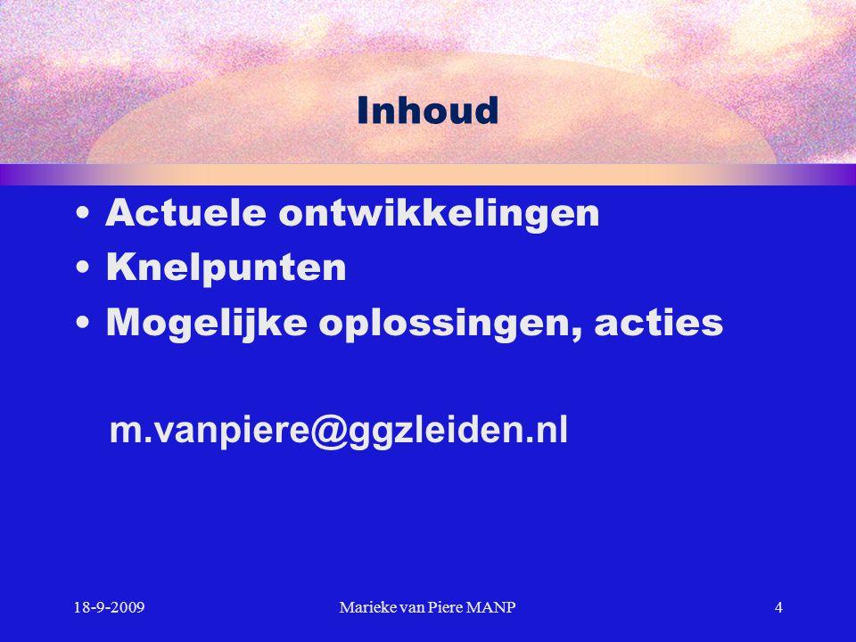 Inhoud Actuele ontwikkelingen Knelpunten Mogelijke oplossingen, acties 18-9-20094Marieke van Piere MANP m.vanpiere@ggzleiden.nl