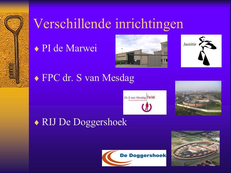 Verschillende inrichtingen  PI de Marwei  FPC dr. S van Mesdag  RIJ De Doggershoek