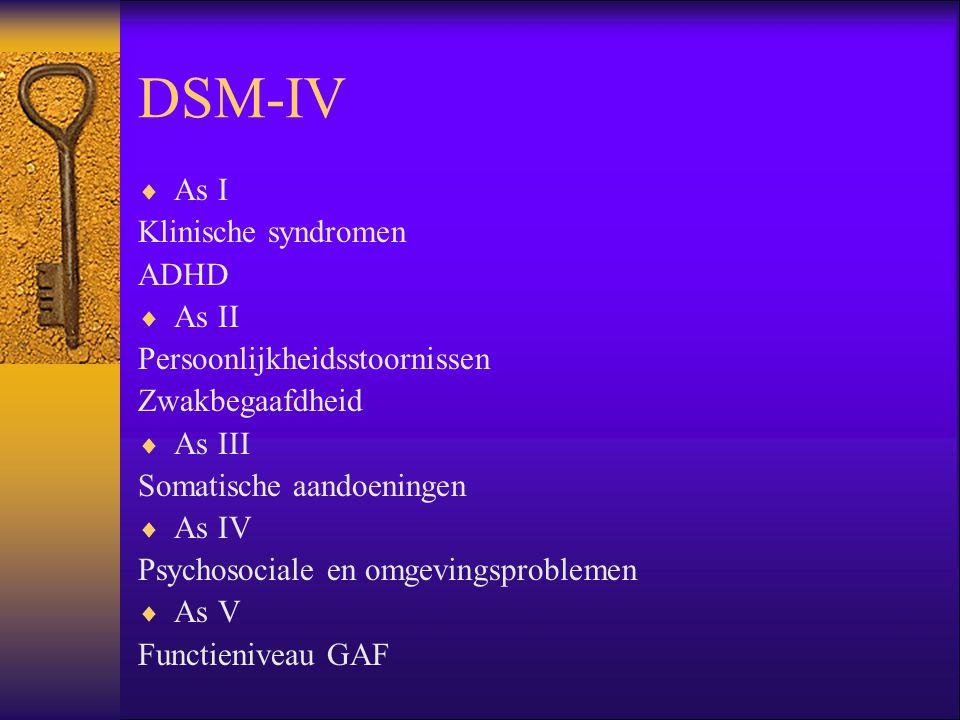 DSM-IV  As I Klinische syndromen ADHD  As II Persoonlijkheidsstoornissen Zwakbegaafdheid  As III Somatische aandoeningen  As IV Psychosociale en o