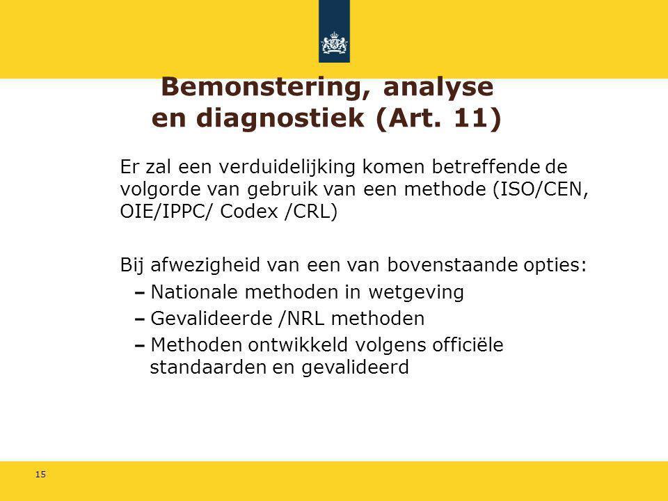 15 Bemonstering, analyse en diagnostiek (Art. 11) Er zal een verduidelijking komen betreffende de volgorde van gebruik van een methode (ISO/CEN, OIE/I