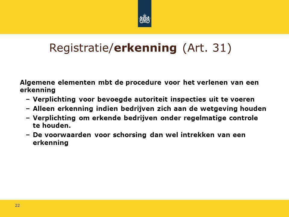 22 Registratie/erkenning (Art. 31) Algemene elementen mbt de procedure voor het verlenen van een erkenning Verplichting voor bevoegde autoriteit inspe