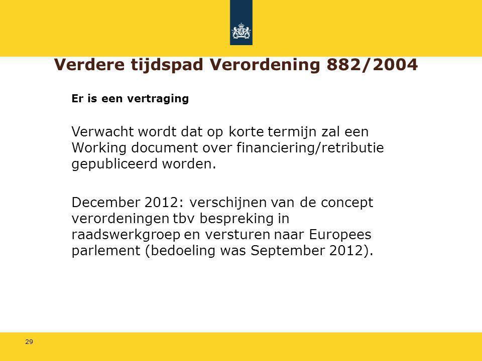 29 Verdere tijdspad Verordening 882/2004 Er is een vertraging Verwacht wordt dat op korte termijn zal een Working document over financiering/retributi