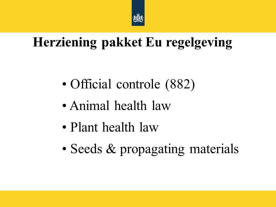 Uitgangspunten NL beleid herziening verordening 882/2004 1.Beleid meer richting preventie en verhoging van naleving 2.Regels, die kosten beheerst en lastendruk verlaagd 3.Beleid inzetten op innovatie (digitalisering, aanpak internet verkoop) en modernisering van toezicht 4.Behouden filosofie GFL (verantwoordelijkheden, risico gebaseerd) 5.Goede balans tussen level playing field en subsidiariteit 6.Toepassen van bonus/malus zowel wat betreft retributies als inspecties 7.Kostendekkendheid daar waar retributies worden toegepast