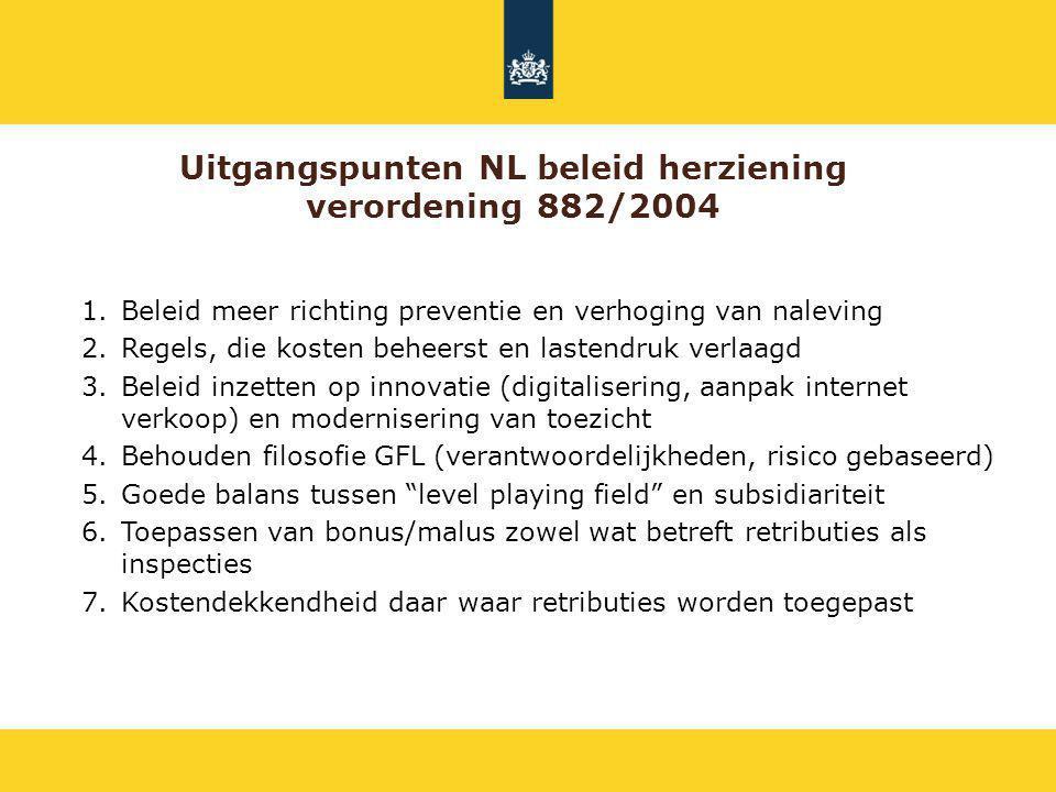 Uitgangspunten NL beleid herziening verordening 882/2004 1.Beleid meer richting preventie en verhoging van naleving 2.Regels, die kosten beheerst en l