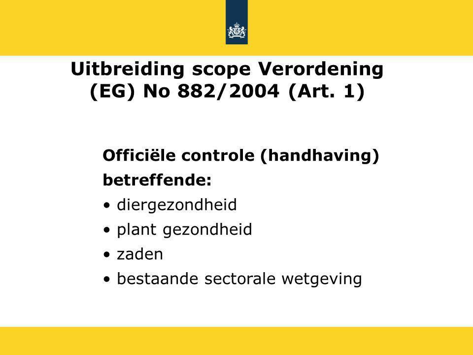 Officiële controle (handhaving) betreffende: diergezondheid plant gezondheid zaden bestaande sectorale wetgeving Uitbreiding scope Verordening (EG) No