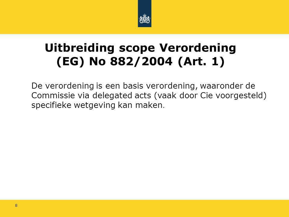 29 Verdere tijdspad Verordening 882/2004 Er is een vertraging Verwacht wordt dat op korte termijn zal een Working document over financiering/retributie gepubliceerd worden.