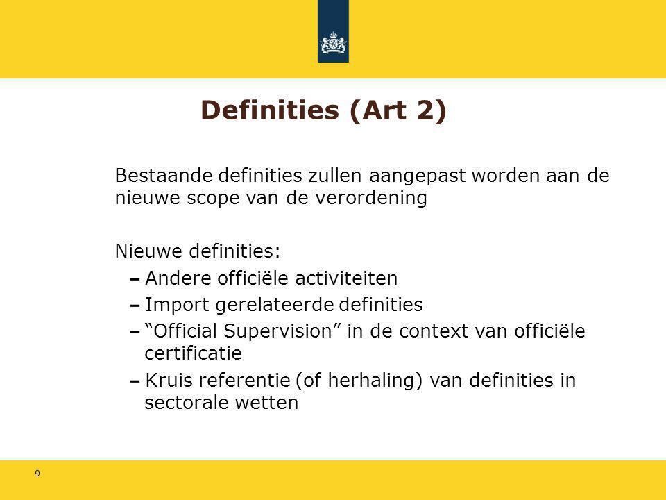 9 Definities (Art 2) Bestaande definities zullen aangepast worden aan de nieuwe scope van de verordening Nieuwe definities: Andere officiële activitei