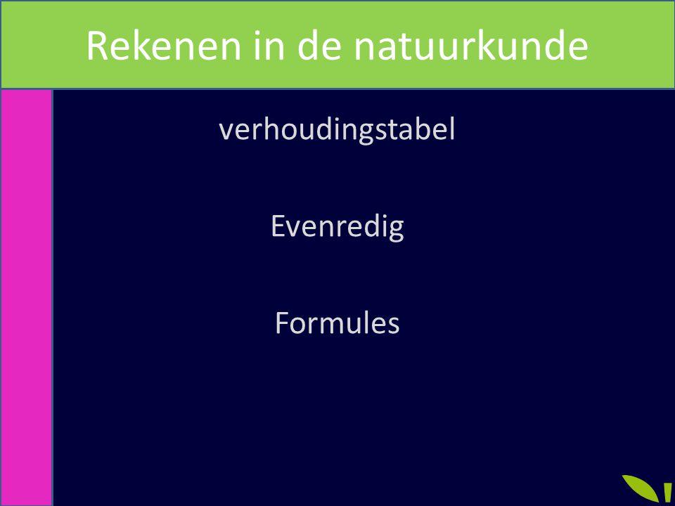 verhoudingstabel Evenredig Formules Rekenen in de natuurkunde