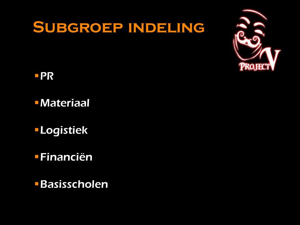 Subgroep indeling PR Materiaal Logistiek Financiën Basisscholen