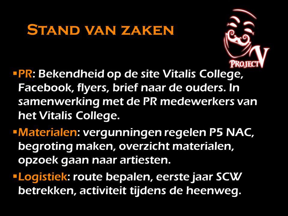 Stand van zaken PR: Bekendheid op de site Vitalis College, Facebook, flyers, brief naar de ouders. In samenwerking met de PR medewerkers van het Vita