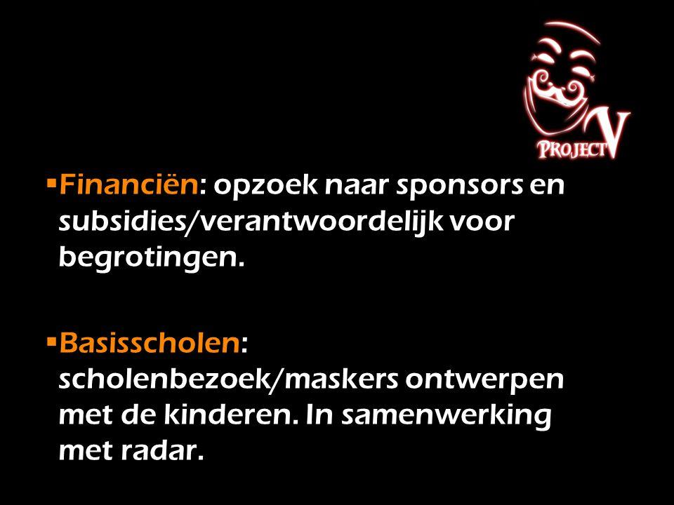 Financiën: opzoek naar sponsors en subsidies/verantwoordelijk voor begrotingen. Basisscholen: scholenbezoek/maskers ontwerpen met de kinderen. In sa