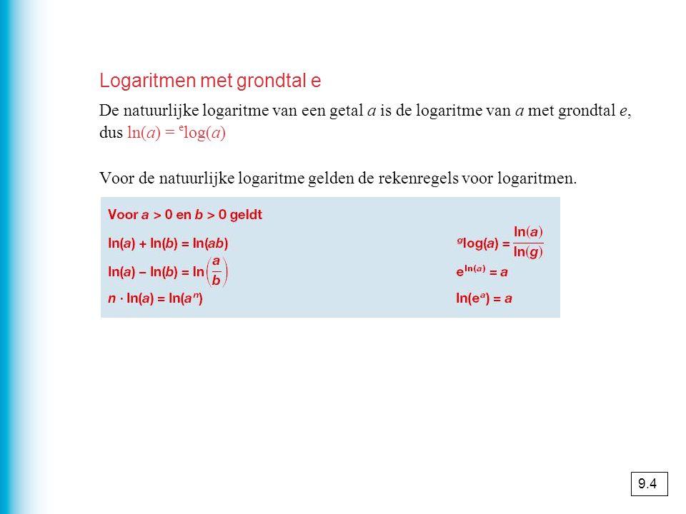 Logaritmen met grondtal e De natuurlijke logaritme van een getal a is de logaritme van a met grondtal e, dus ln(a) = e log(a) Voor de natuurlijke logaritme gelden de rekenregels voor logaritmen.