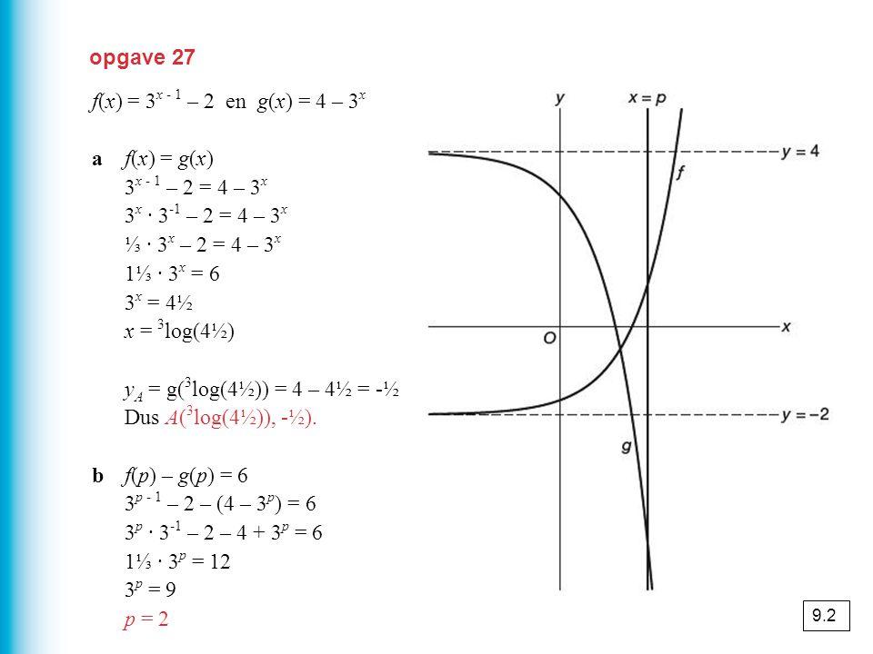 opgave 27 f(x) = 3 x - 1 – 2 en g(x) = 4 – 3 x af(x) = g(x) 3 x - 1 – 2 = 4 – 3 x 3 x · 3 -1 – 2 = 4 – 3 x ⅓ · 3 x – 2 = 4 – 3 x 1⅓ · 3 x = 6 3 x = 4½ x = 3 log(4½) y A = g( 3 log(4½)) = 4 – 4½ = -½ Dus A( 3 log(4½)), -½).