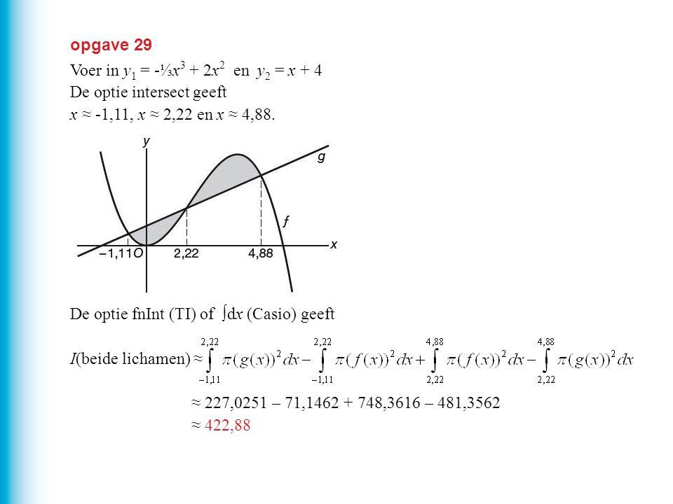 opgave 29 Voer in y 1 = -⅓x 3 + 2x 2 en y 2 = x + 4 De optie intersect geeft x ≈ -1,11, x ≈ 2,22 en x ≈ 4,88. De optie fnInt (TI) of ∫dx (Casio) geeft