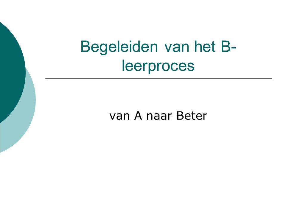 Begeleiden van het B- leerproces van A naar Beter