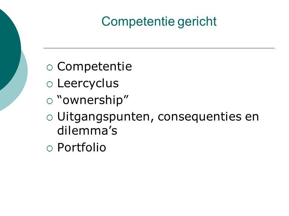 """ Competentie  Leercyclus  """"ownership""""  Uitgangspunten, consequenties en dilemma's  Portfolio"""