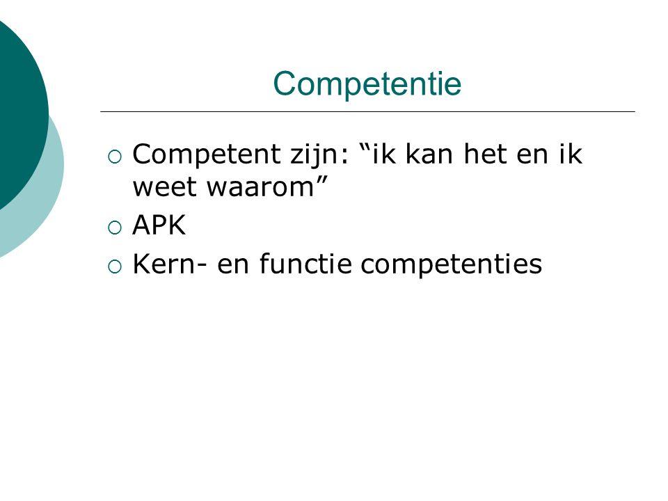 """Competentie  Competent zijn: """"ik kan het en ik weet waarom""""  APK  Kern- en functie competenties"""