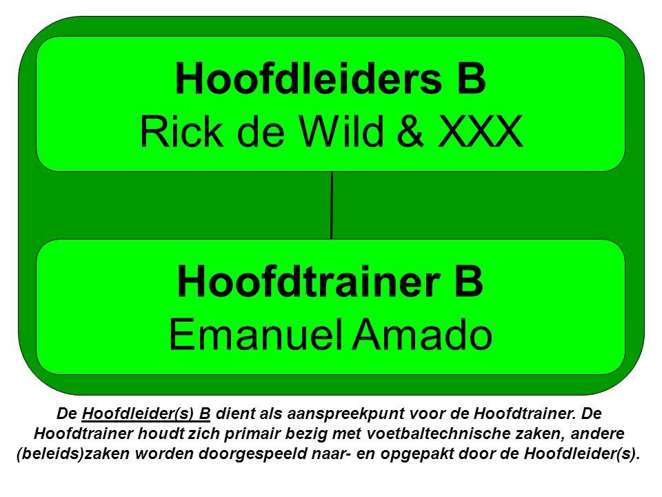Hoofdleiders B Rick de Wild & XXX Hoofdtrainer B Emanuel Amado De Hoofdleider(s) B dient als aanspreekpunt voor de Hoofdtrainer.