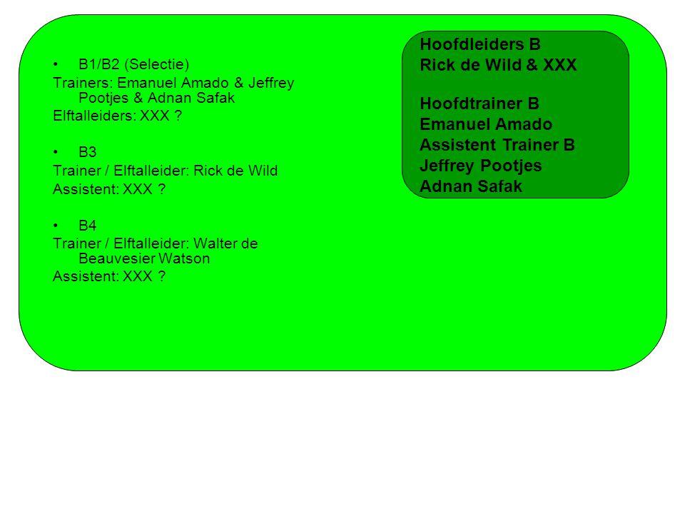 B1/B2 (Selectie) Trainers: Emanuel Amado & Jeffrey Pootjes & Adnan Safak Elftalleiders: XXX .