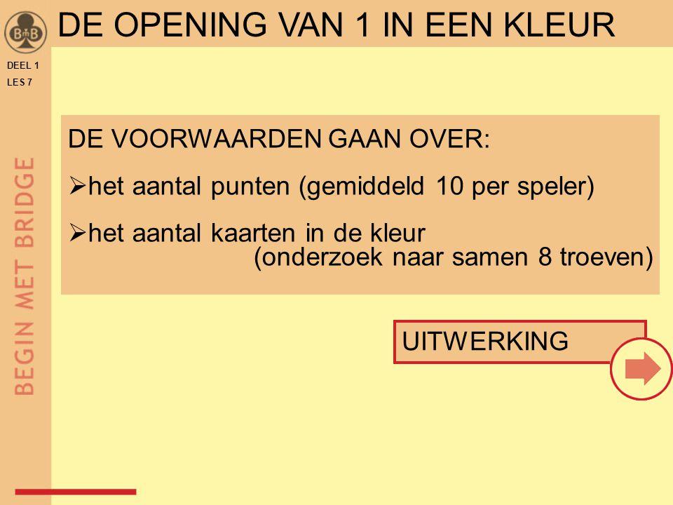 DEEL 1 LES 7 openingsbod van 1 in een kleur kan zijn: 1♣ 1♦ 1♥ 1♠ voorwaarde om te openen: 13 punten of meer openingskleur: minstens een vierkaart DE OPENING VAN 1 IN EEN KLEUR