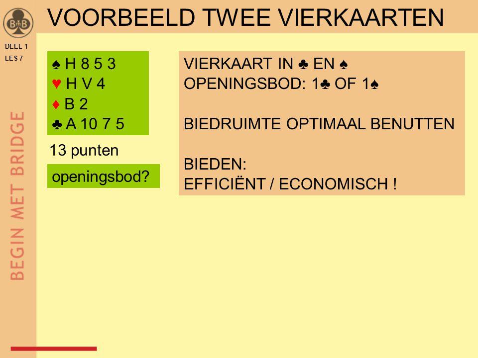 DEEL 1 LES 7 ♠ H 8 5 3 ♥ H V 4 ♦ B 2 ♣ A 10 7 5 VIERKAART IN ♣ EN ♠ OPENINGSBOD: 1♣ OF 1♠ BIEDRUIMTE OPTIMAAL BENUTTEN BIEDEN: EFFICIËNT / ECONOMISCH .