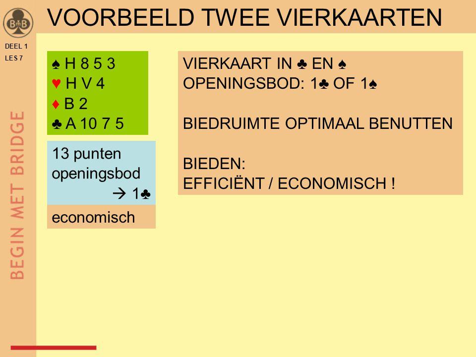 DEEL 1 LES 7 ♠ H 8 5 3 ♥ H V 4 ♦ B 2 ♣ A 10 7 5 VIERKAART IN ♣ EN ♠ OPENINGSBOD: 1♣ OF 1♠ BIEDRUIMTE OPTIMAAL BENUTTEN BIEDEN: EFFICIËNT / ECONOMISCH