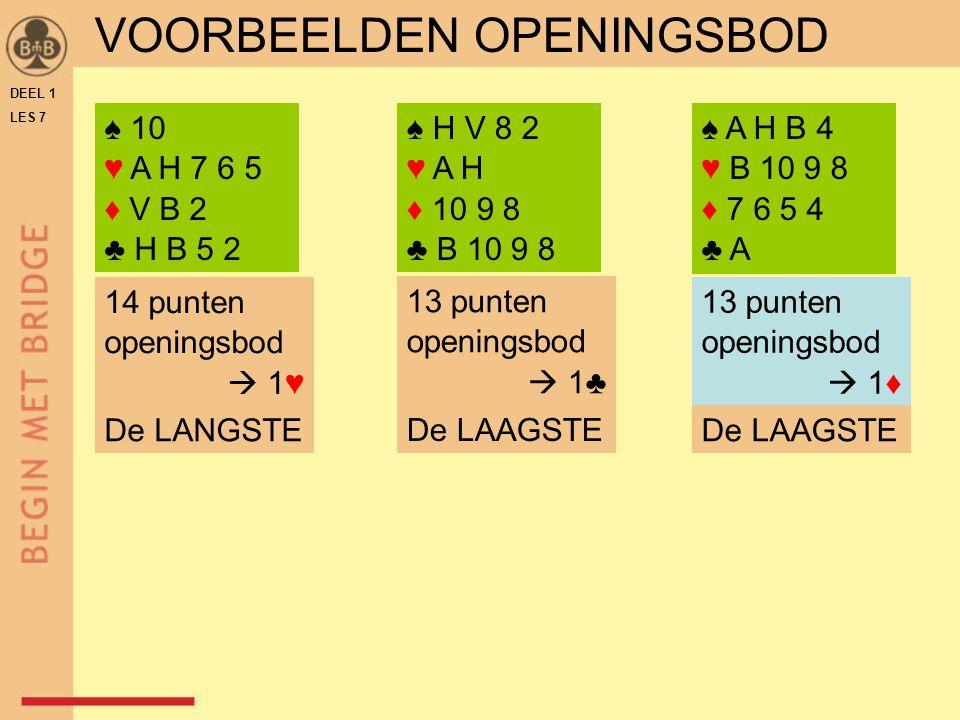 DEEL 1 LES 7 ZELFONTDEKKINGSOPDRACHT TAFELBLAD B-7.51 1) openen met de langste kleur 2) openen met twee vierkaarten Maar, hoe open je nu met 3) twee vijfkaarten.