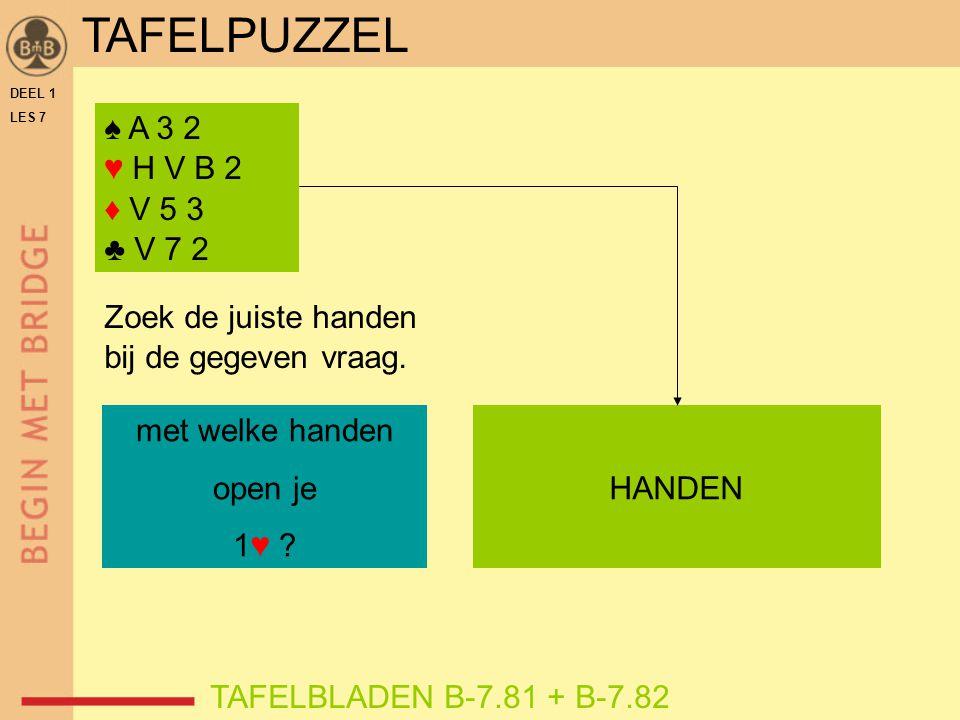 DEEL 1 LES 7 ♠ A 3 2 ♥ H V B 2 ♦ V 5 3 ♣ V 7 2 TAFELBLADEN B-7.81 + B-7.82 Zoek de juiste handen bij de gegeven vraag. met welke handen open je 1♥ ? H