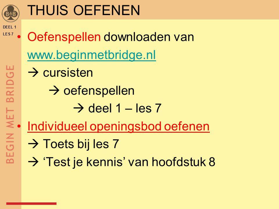 Oefenspellen downloaden van www.beginmetbridge.nl  cursisten  oefenspellen  deel 1 – les 7 Individueel openingsbod oefenen  Toets bij les 7  'Tes